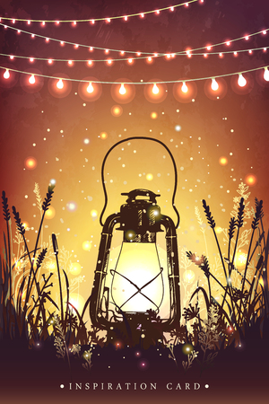 Amazing vintage lanten on grass with magical lights of fireflies at night sky background. Unusual vector illustration. Inspiration card for wedding, date, birthday,  holiday or garden party Stock Illustratie