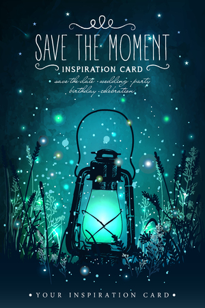 Amazing vintage lanten on grass with magical lights of fireflies at night sky background. Unusual vector illustration. Inspiration card for wedding, date, birthday, tea or garden party Çizim