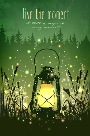 Amazing vintage lanten on grass with magical lights of fireflies at night sky background. Unusual vector illustration. Inspiration card for wedding, date, birthday, tea or garden party Иллюстрация