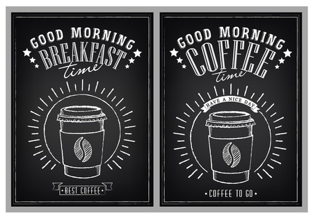 morning sunrise: Set of vintage posters Good Morning. Cups of coffee. Breakfast time. Sunrise. Drawing with imitation of chalk sketch