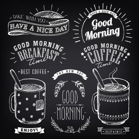 taza cafe: Conjunto de elementos gráficos para el diseño del tema de desayuno Buenos días. Tazas de café y té. bosquejo estilizado de tiza. Inscripciones, etiquetas de época, elementos étnicos Vectores