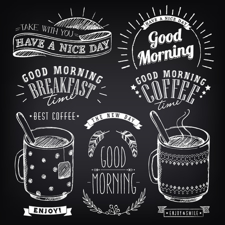 Set of graphic elements for design of theme of Breakfast Good morning. Cups of coffee and tea. Stylized sketch of chalk. Inscriptions, vintage labels, ethnic elements Vettoriali