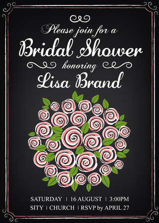style template: Invitation template with wedding bouquet. Bridal shower. Vintage style. Chalkboard