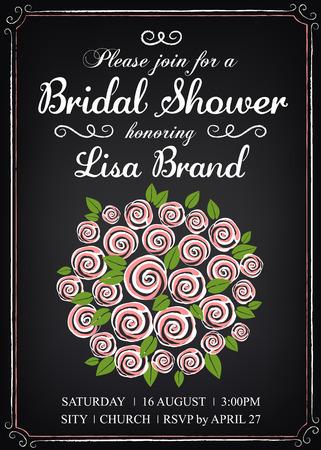 wedding bouquet: Invitation template with wedding bouquet. Bridal shower. Vintage style. Chalkboard