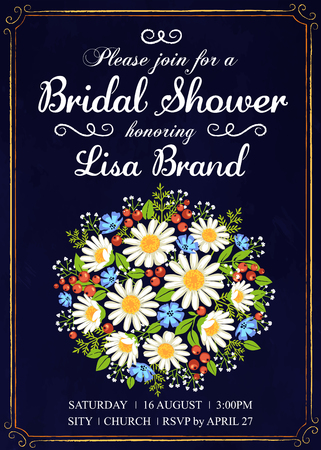 Invitation template with wedding bouquet of wildflowers and red berries. Bridal shower