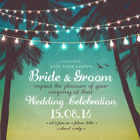 bride and groom illustration: Hanging decorative holiday lights for a beach party. Inspiration card for wedding, date, birthday, party invitation