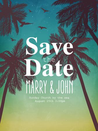 에 대한 영감 카드? 결혼식, 날짜, 생일, 휴일, 해변 파티 초대장. 비치 스타일 카드 일러스트