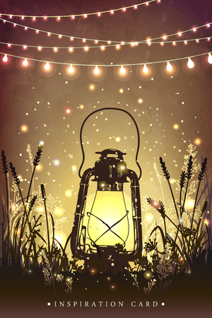 Amazing vintage lanten on grass with magical lights of fireflies at night sky background. Unusual illustration. Inspiration card for wedding, date, birthday, tea or garden party Ilustracja