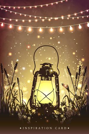 lanten Amazing vintage en la hierba con las luces mágicas de luciérnagas en la noche el cielo de fondo. ilustración inusual. tarjeta de inspiración para la boda, fecha, cumpleaños, té o fiesta en el jardín