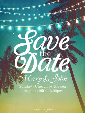 beach party: Hanging decorative holiday lights for a beach party. Inspiration card for wedding, date, birthday. Beach party invitation