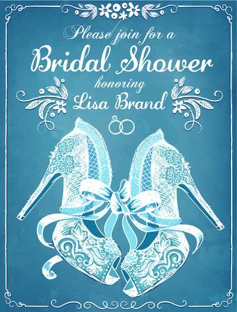 Bridal shower invitation card with beautiful lace brides shoes bridal shower invitation card with beautiful lace brides shoes floral frame wedding invitation stock filmwisefo Images