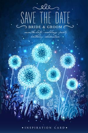 밤 하늘 배경에 반딧불의 마법의 빛을 가진 놀라운 민들레입니다. 결혼식, 날짜, 생일, 휴일 또는 정원 파티에 대한 영감 카드. 날짜를 기억해 두세요