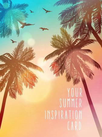 Ilustración de playa de verano. Tarjeta de inspiración para boda, fecha, cumpleaños, invitación de fiesta en la playa