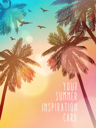 tropical bird: Summer beach illustration. Inspiration card for wedding, date, birthday, beach party invitation