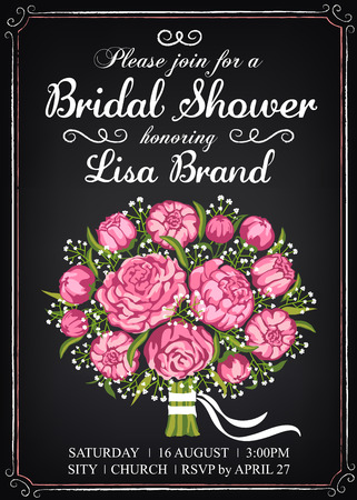 wedding bouquet: Invitation template with beautiful wedding bouquet. Bridal shower. Vintage style. Chalkboard