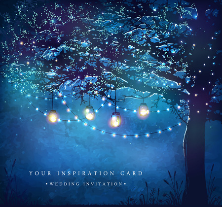 garden party: Hanging decorative holiday lights for a party. Garden party invitation.  Inspiration card for wedding, date, birthday, tea party