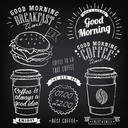 아침 식사 좋은 아침의 테마의 디자인을위한 그래픽 요소의 집합입니다. 커피 컵. 분필 스케치의 양식에 일치시키는 일러스트