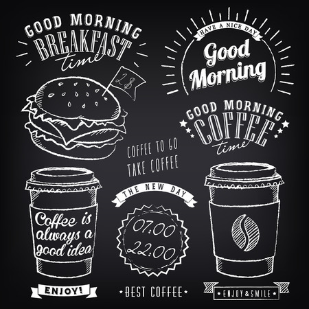 Set of graphic elements for design of theme of Breakfast Good morning. Cups of coffee. Stylized of chalk sketch