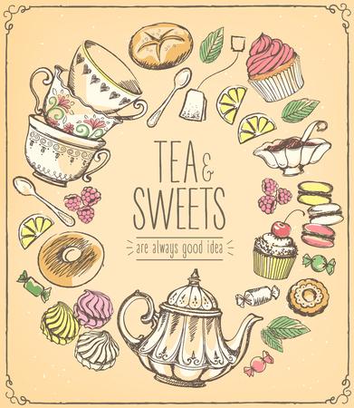 jams: Tea ceremony llustration. Tea time, tea leaves, teapot, sweets, bakery, tea tools. Tradition of tea time. Tea time symbols. drawing with imitation of chalk sketch
