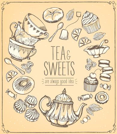 Tea ceremony llustration. Tea time, tea leaves, teapot, sweets, bakery, tea tools. Tradition of tea time. Tea time symbols. drawing with imitation of chalk sketch