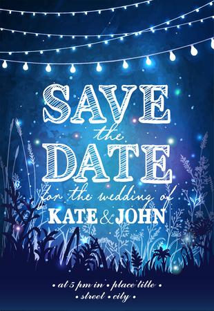 Hängende dekorative Urlaub Lichter für eine Party. Garten-Party Einladung. Inspiration Karte für Hochzeit, Datum, Geburtstagsparty