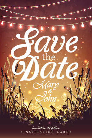 dia y noche: Colgando las luces navideñas de decoración para una fiesta. Invitación de la fiesta de jardín. tarjeta de inspiración para la boda, fecha, fiesta de cumpleaños Vectores
