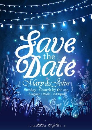 パーティーのための装飾的な休日ライトをぶら下がっています。ガーデン パーティーの招待状。 結婚式、日付、誕生日パーティーのためのインスピ