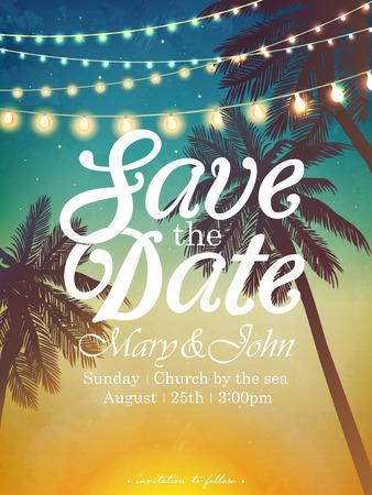 O feriado decorativo de suspensão ilumina-se para uma festa na praia. Cartão de inspiração para casamento, data, aniversário. Convite para festa de praia