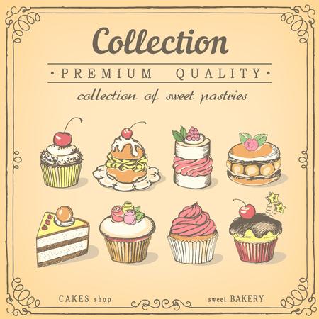 Set di dolci e dolcetti. Pasticceria. Icone di dolci schizzo bakery.chalk