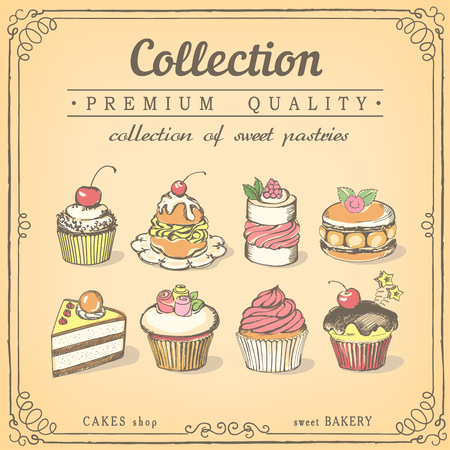 gateau: Set of sweet pastries and cupcakes. Bakery shop. icons of sweet bakery.chalk sketch Illustration