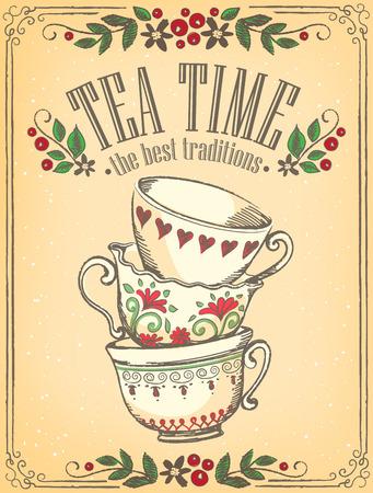 letrero: Ilustración del tiempo del té con las tazas lindo. Marco floral. Bosquejo