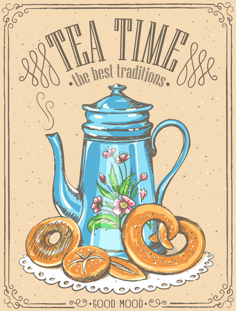 Illustration with the words Tea Time and teapot, bakery.  sketch