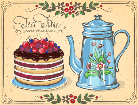 Illustration Tea Time with Berry cake and teapot. floral frame.  sketch.  Inspiration card for birthday party, tea party Çizim