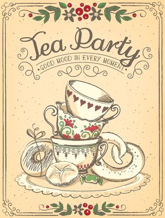 alto: Ilustración del tiempo del té con las tazas lindo. Marco floral. Bosquejo