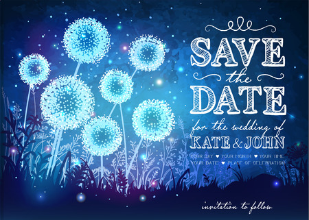 date night: Amazing dandelions with magical lights of fireflies at night sky background. Inspiration card for wedding, date, birthday, holiday or garden party. Save the Date
