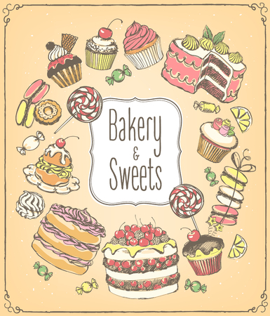 Set of  pastries and sweets. Bakery shop. icons of sweet bakery.