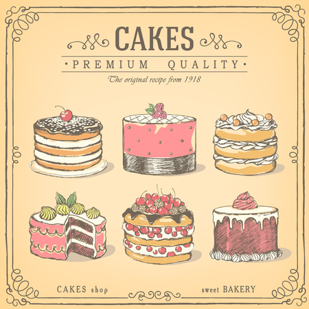 Set of cakes. Bakery sweet shop. icons of cakes.