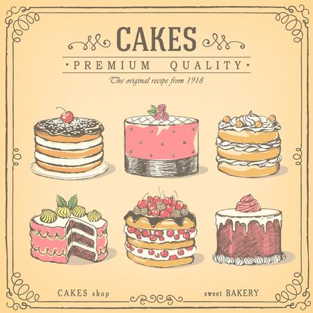 sweet shop: Set of  cakes. Bakery sweet shop. icons of cakes.