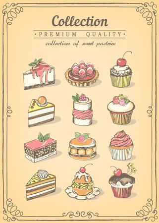 달콤한 파이와 컵 케이크의 집합입니다. 베이커리 숍.