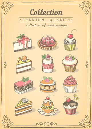 gateau: Set of sweet pastries and cupcakes. Bakery shop.