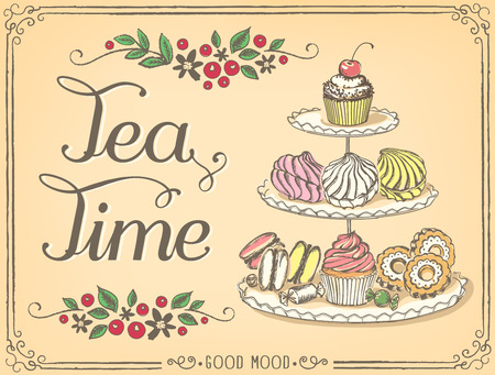 Illustration with the words Tea Time three-tiered stand with sweet pastries. Freehand drawing with imitation of sketch