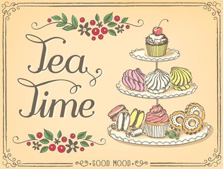 tarde de cafe: Ilustración con las palabras Tea Time stands de tres niveles con pasteles dulces. Dibujo a mano alzada con la imitación de dibujo