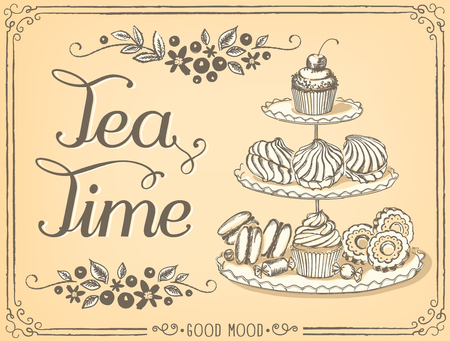 sweet pastries: Illustration with the words Tea Time three-tiered stand with sweet pastries. Freehand drawing with imitation of sketch