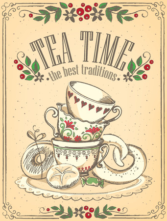 Illustration Tea Time with cute cups and bakery. Beautiful floral frame. Freehand drawing. Sketch
