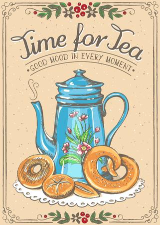 chinesisch essen: Illustration mit den Worten Zeit für Tee und Teekanne, Bäckerei. Schöne florale Rahmen. Freihandzeichnen, Skizze