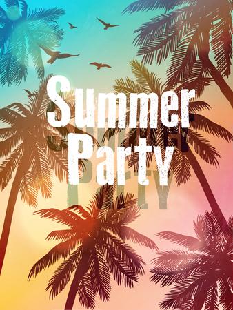 date palm: Summer beach illustration. Inspiration card for wedding, date, birthday, beach party invitation