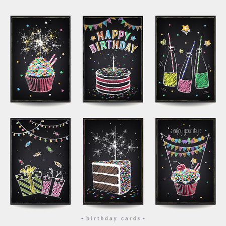Set of invitation cards to the birthday party with a cake, soda, sparklers and gift. Freehand drawing with imitation of chalk sketch Vectores