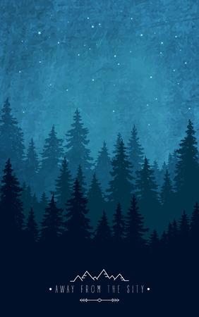 Woodland landschap. Silhouet van bos 's nachts hemel. Inspirational citaat om buiten en feestdagen te rusten buiten de stad. Wilde dieren en natuur