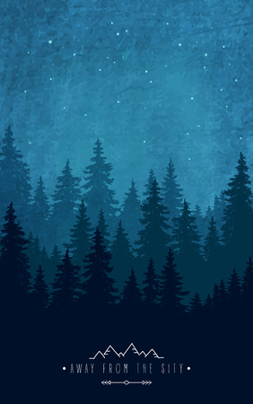 woodland scenery: Woodland scenery. Silhouette of forest at night sky. Inspirational quote to rest outdoors and holidays out of town. Wildlife and nature Illustration