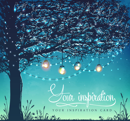 lawn party: Hanging decorative holiday lights for a back yard party, wedding, date, birthday. Inspiration card. Garden party invitation
